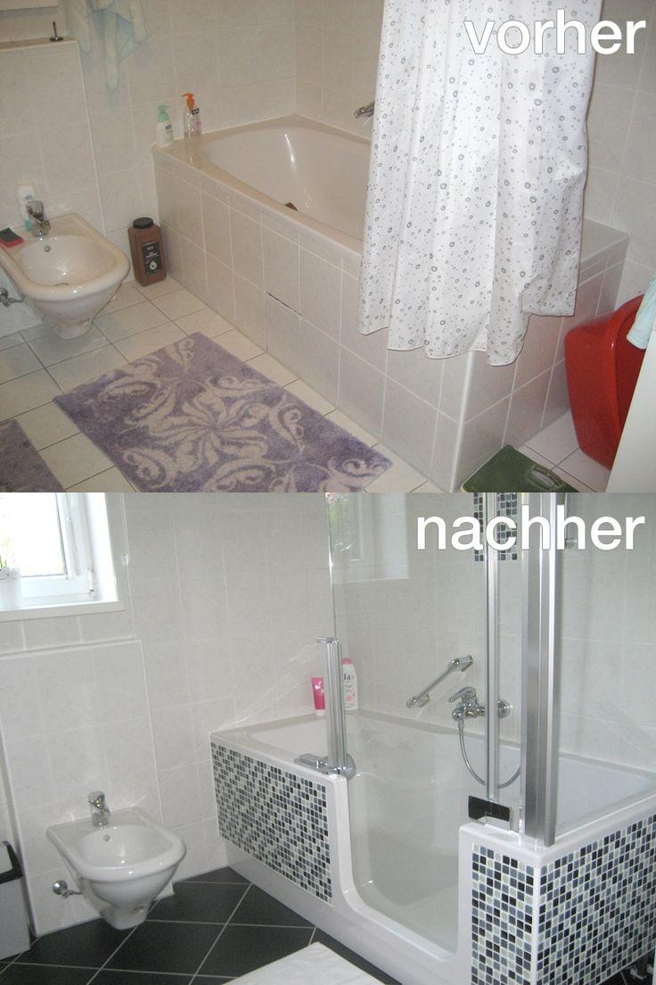 Adieu aufdringlicher Duschvorhang und unbequemer Einstieg - mit der TWINLINE 2 Duschbadewanne wurde hier eine Teilrenovierung durchgeführt, die den Komfort extrem steigert. Der dunkle Boden und die Mosaikfliesen bringen einen neuen, ebenso zeitlosen Touch ins Bad. www.artweger.at