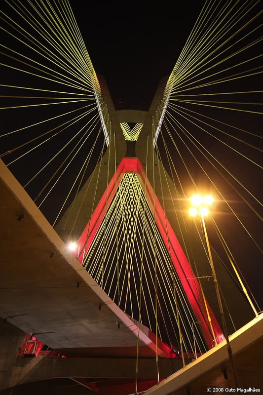 World's first x shaped cable stayed bridge with two crossed lanes - São Paulo (Brazil) stay cables Bridge Oliveira