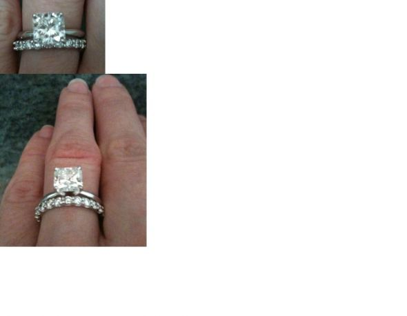 Solitaire engagement ring and wedding band