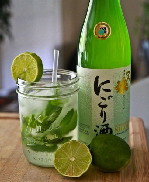 #SAKE #CHAMPAGNE #MOJITO RECIPE 1 bottle Sake 1 bottle Extra Dry Champagne 1 large bunch mint leaves juice of 3-4 limes 6-10 droppers full of Liquid Stevia (more or less to taste)