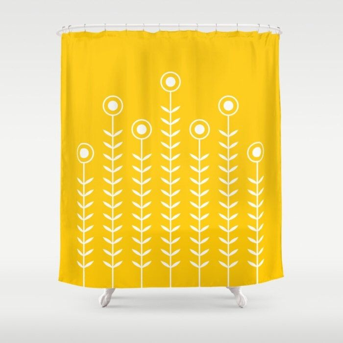 36 colours, Minimalist Flowers Shower Curtain, Scandinavian style, Crocus yellow geometric shower curtains, flower pattern bathroom decor by ThingsThatSing on Etsy https://www.etsy.com/listing/227486287/36-colours-minimalist-flowers-shower