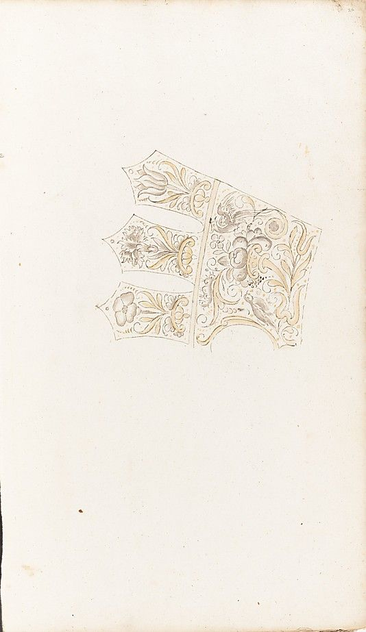 Album of designs for embroidery: bodices, gauntlets, caps, bags Anonymous, Dutch, 17th century Date: 1615–35 Medium: pen and ink; some with wash Accession Number: 55.583.1