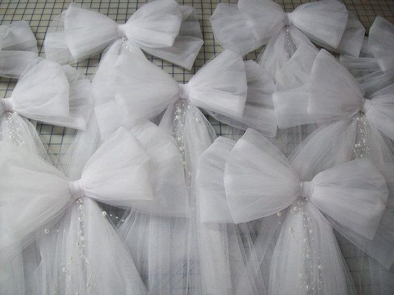 Tulle Pew Bow OVER 20 COLORS Tulle Church Pew Decor par OneFunDay