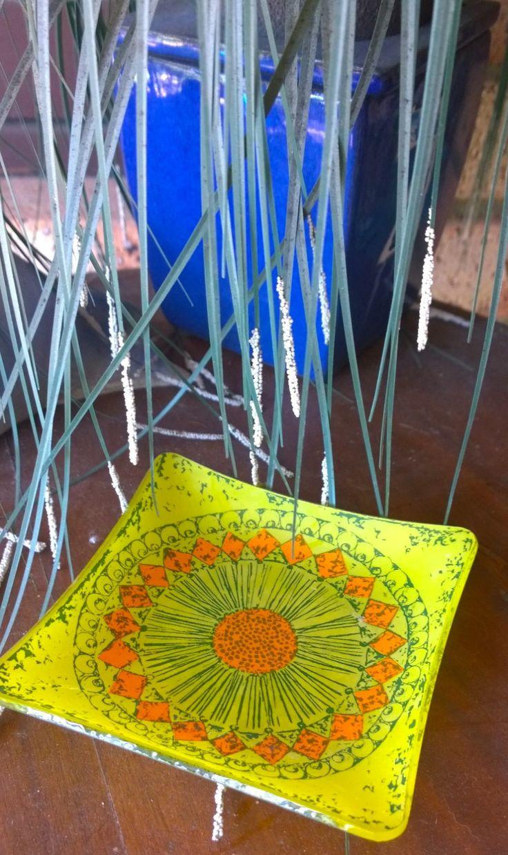 Square Glass Plate - Vintage Ash Tray/Platter:  Mandala Orange/Yellow by TheBusyTipsyGipsy on Etsy