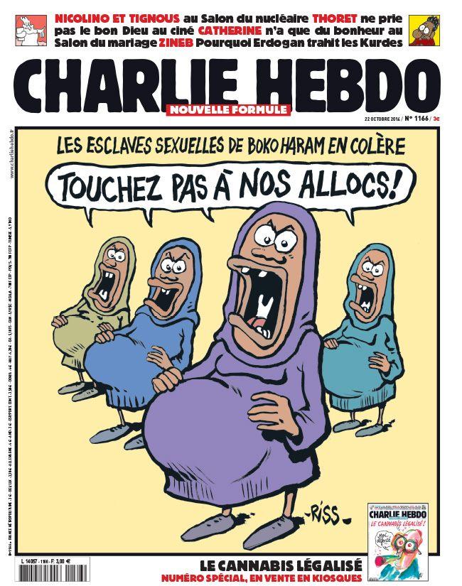 Charlie-Hebdo 22-10-2014 #satire #parodie #Riss #BokoHaram #allocations #maternité