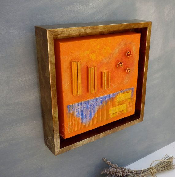 Modern Abstract Art Golden frame Abstract painting