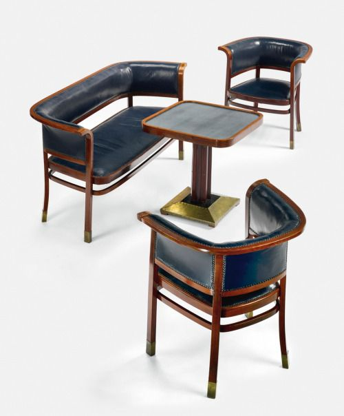 Marcel Kammerer, Salon Suite, c.1905, manufactured by Thonet, Vienna; stained bent beech, brass, glass and leather upholstery