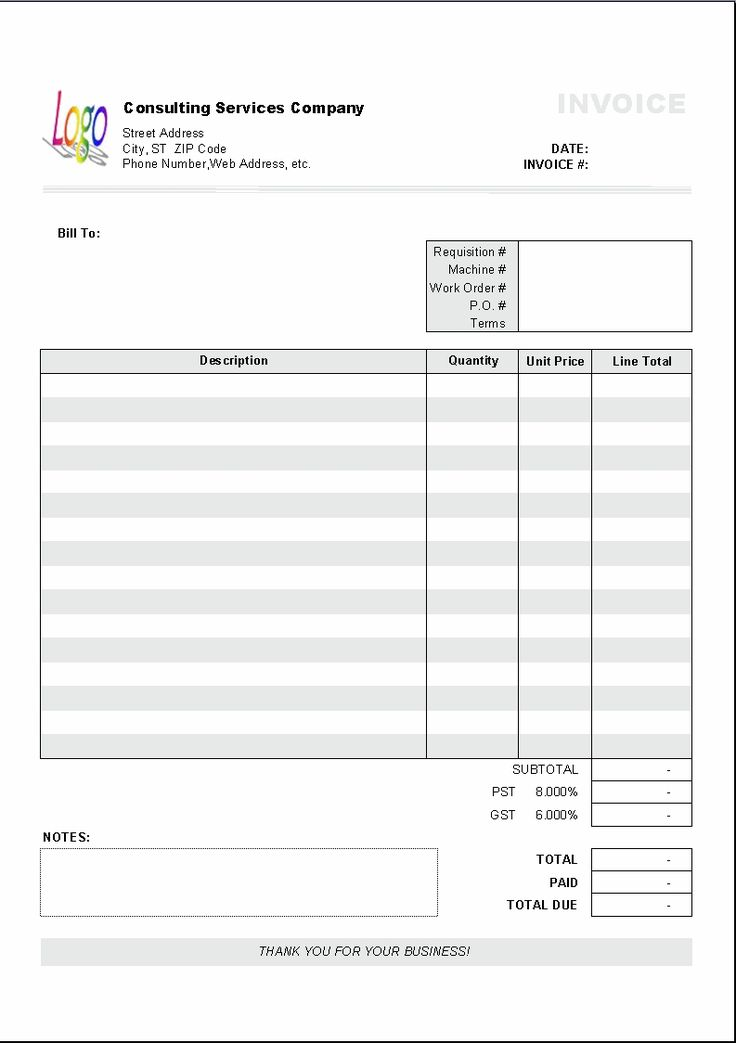 249 best invoice images on Pinterest Calendar templates - free contractor invoice