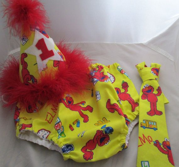 Baby Boy/ Toddler Elmo Cake Smash Outfit for First Birthday. Includes ...