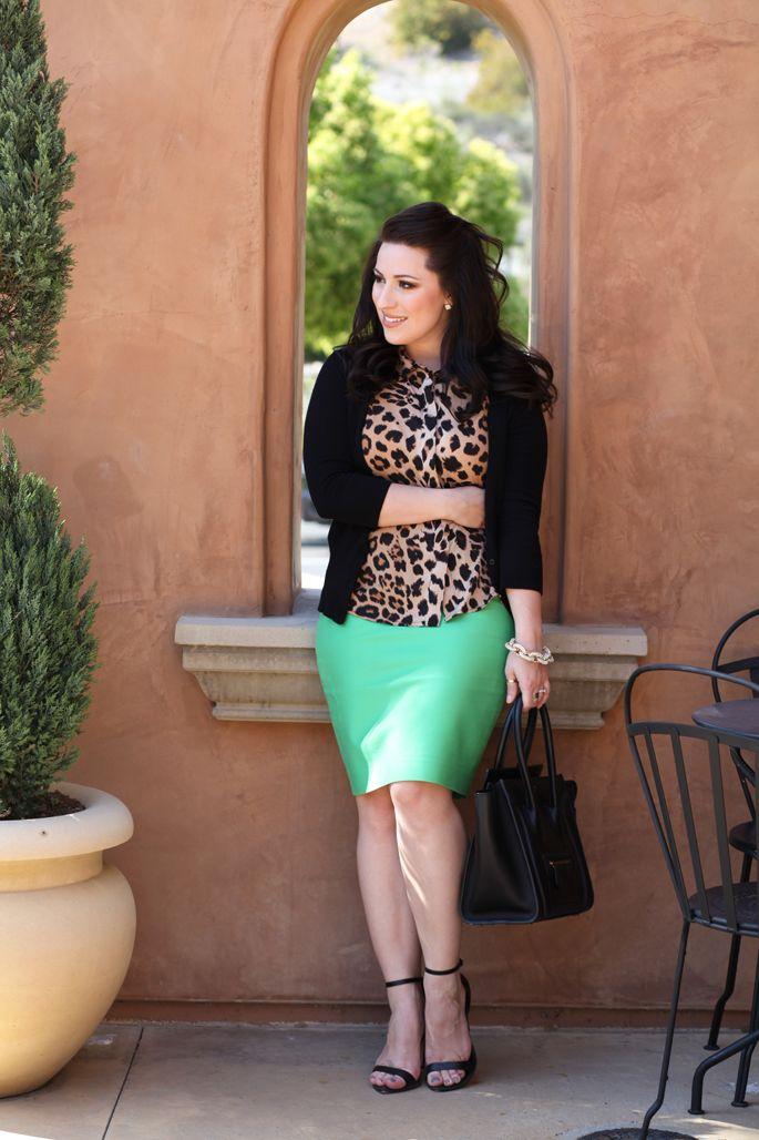 leopard-blouse, mint-green skirt, black cardigan, black heels and bag