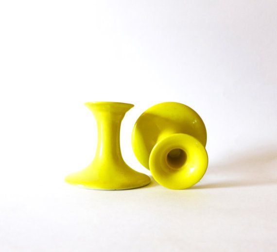 Lemon Yellow Candle Holders Yellow Candlesticks by CafeChaCha, $16.00 1970s