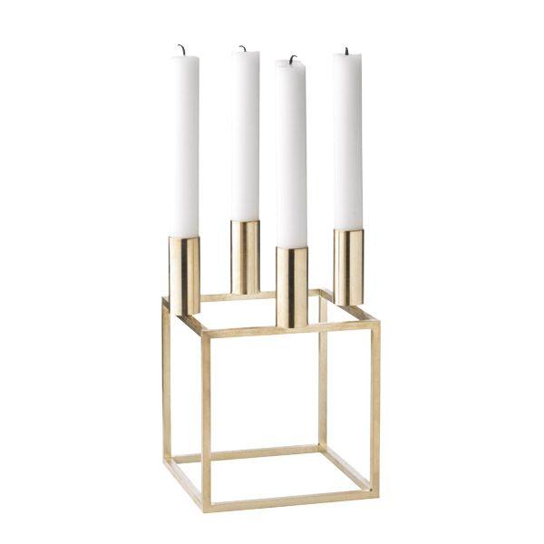 Kubus 4 kynttil�njalka, messinki