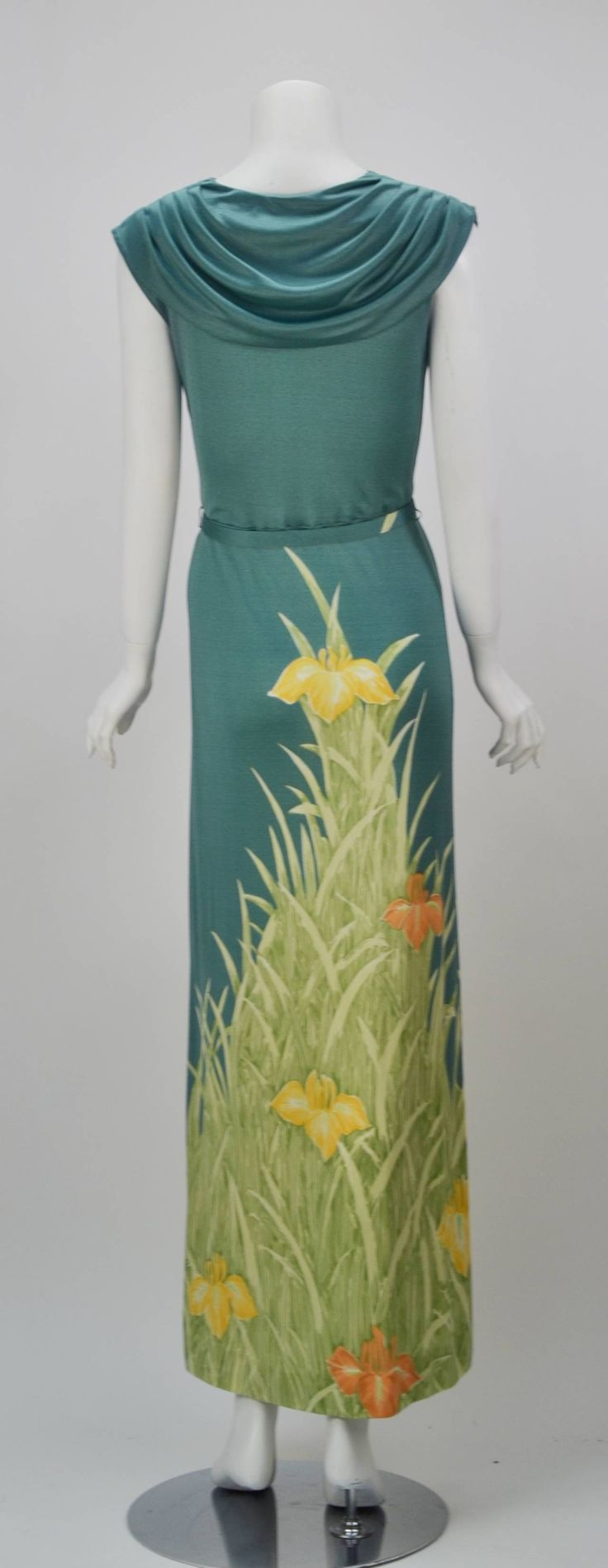 1970s Mac Tac for Leonard Sunshine Spring Print Maxi Dress | From a collection of rare vintage day dresses at https://www.1stdibs.com/fashion/clothing/day-dresses/