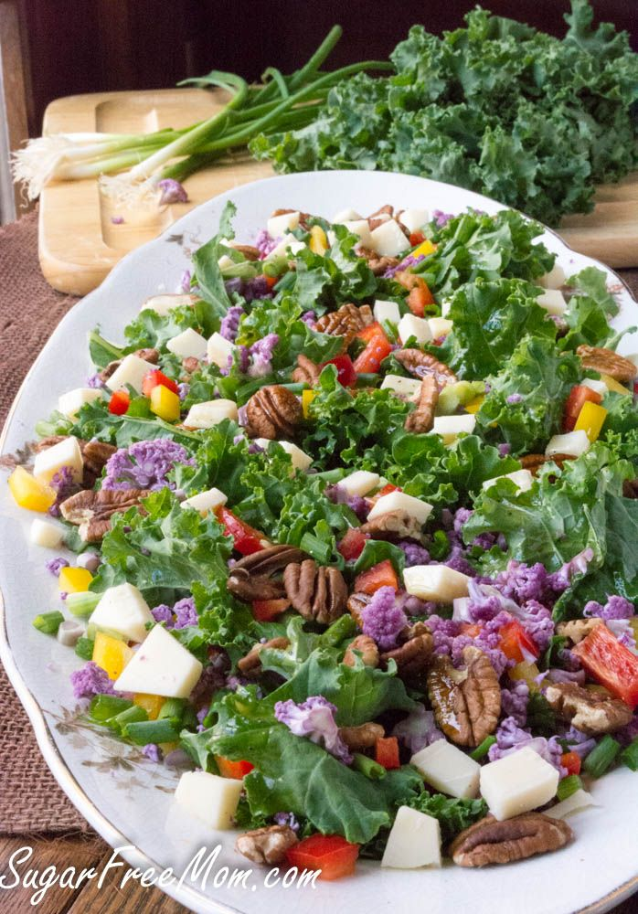 Low Carb, Cauliflower Confetti Kale Pecan Salad- vegan without the cheese- sugarfreemom.com