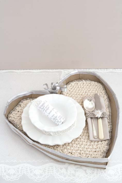Knitted heart placemat