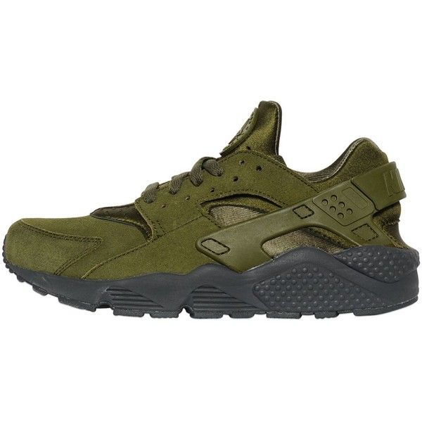 Nike Men Air Huarache Faux Suede Sneakers (8,540 DOP) ❤ liked on Polyvore featuring men's fashion, men's shoes, men's sneakers, military green, nike mens shoes, mens shoes, mens perforated shoes, mens lightweight running shoes and mens sneakers