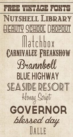 Free Vintage Fonts from www.overthebigmoon.com!!