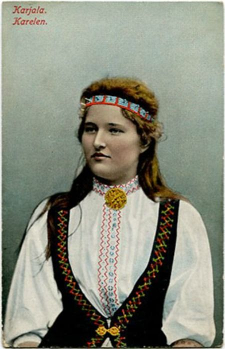 Karelian woman wearing traditional dress (Finnish vintage postcard)