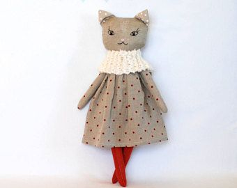 Cat OOAK doll cat rag doll linen stuffed cat modern cat