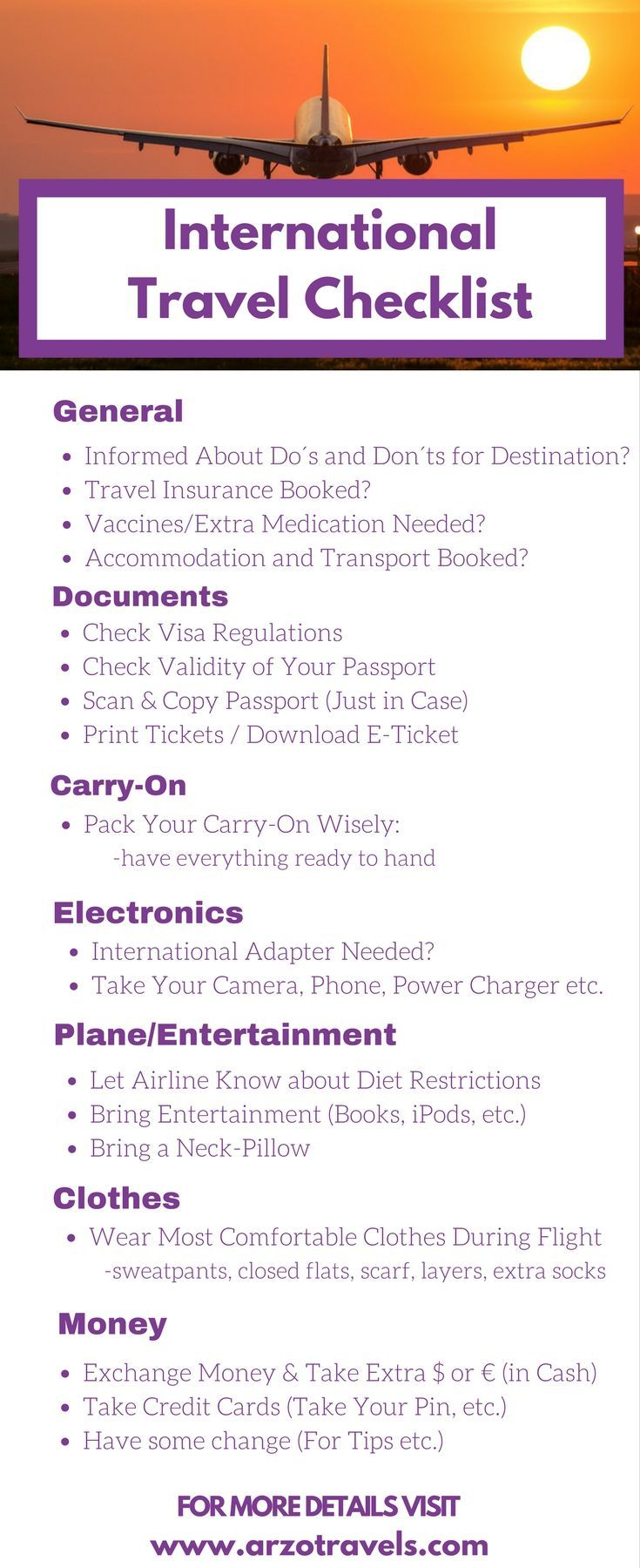 Checklist: Things to do before an international trip. 21 things you should do and consider before flying abroad: Travel advice - what to know before your vacation.