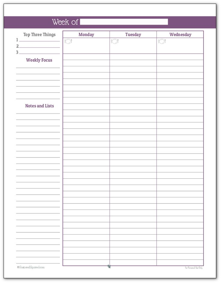 New Full size weekly planner printable in Deep Lilac Page One