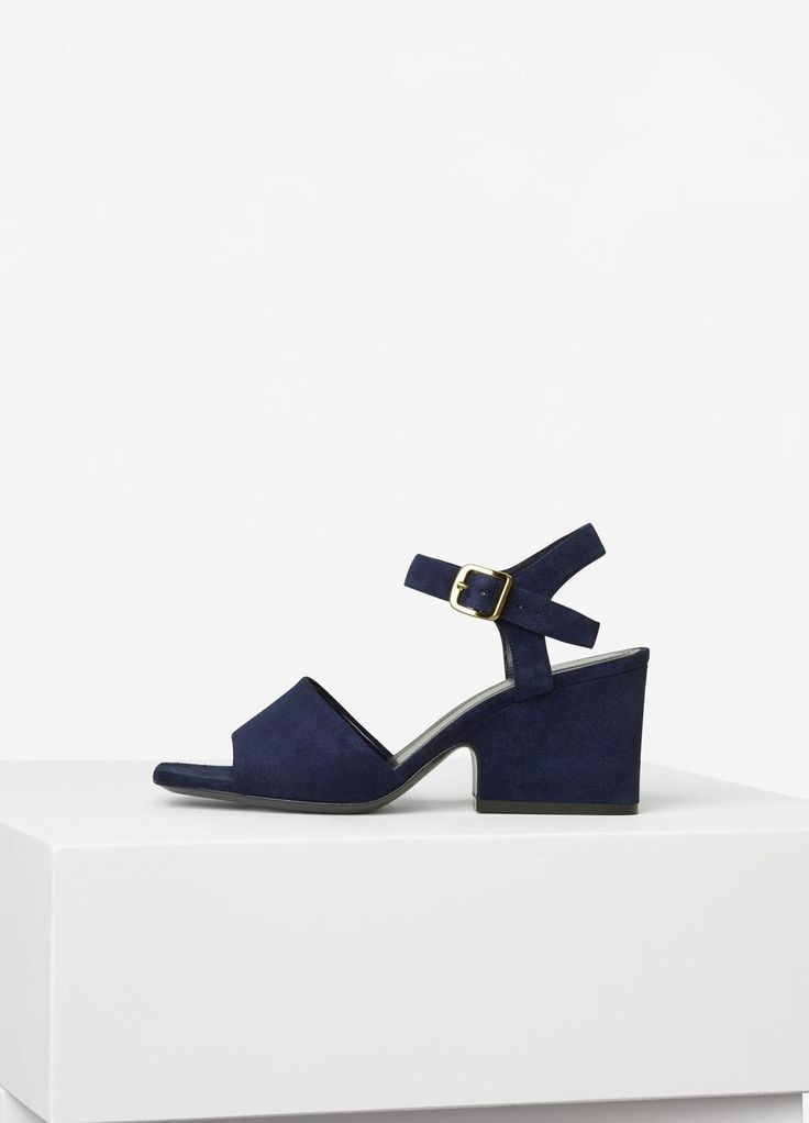 Platform Mid Heel Sandal in Suede - Céline