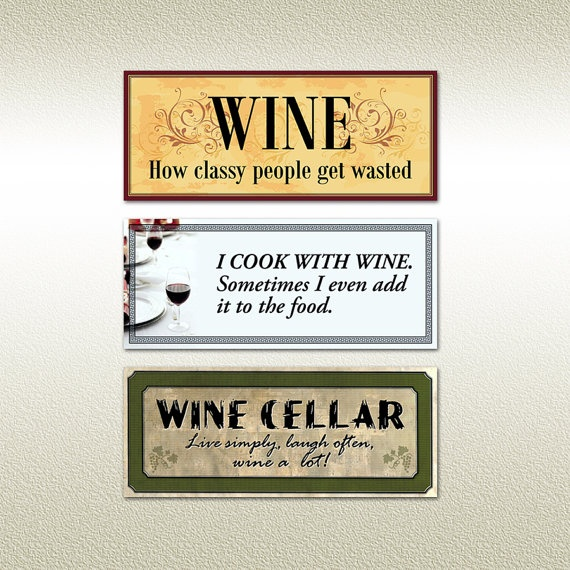 Refrigerator Magnets with #Wine Sayings - Set of 3 - Made in USA!