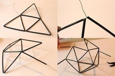 himmeli lamp shade wire and plastic cocktail coffee straws stirrers painted gold like copper tubing easy tutorial ornamental geometric(17).j...