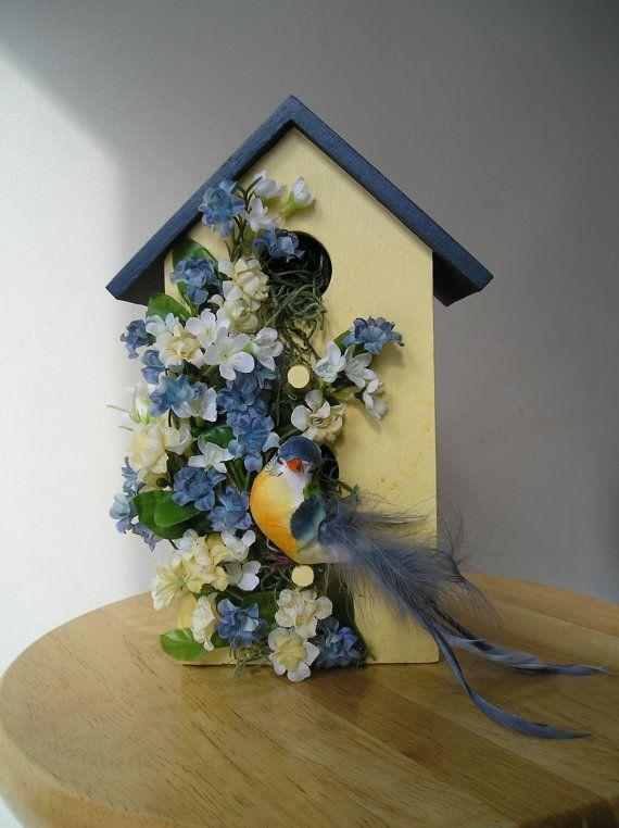 Indoor Decorative Handpainted Birdhouse with by purpleinkgraphics, $24.00
