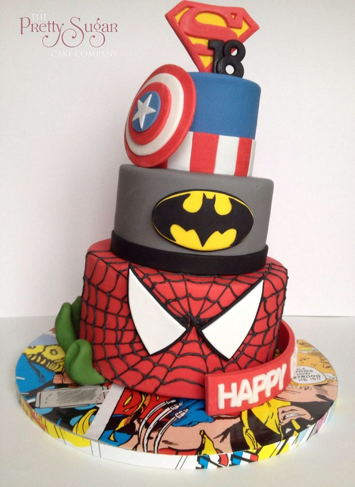 Superheroes 18th birthday cake