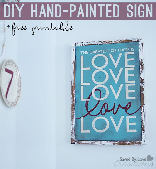 DIY Hand-painted #reclaimed Wood Sign tutorial and printable cut file or traceable template @savedbyloves #verseprintable #Love #valentinesday