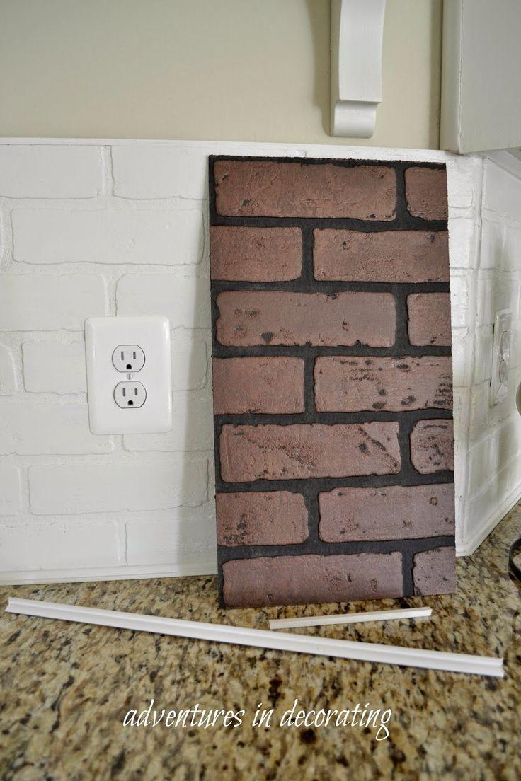 Brick tiles for backsplash in kitchen - Well We Ve Been Messin Around In The Kitchen Faux Brick Backsplashkitchen