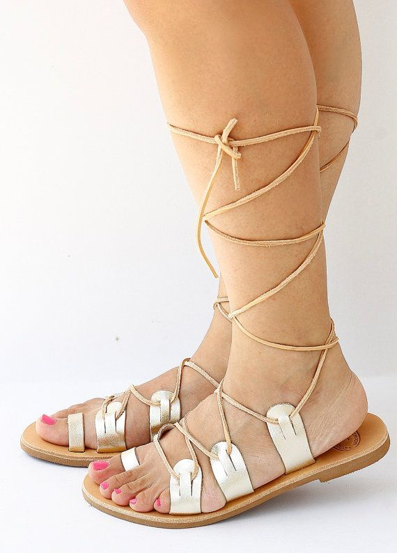 231d06f7279a4 Gold Spartan Leather Sandals, Lace Up Sandals, Tie Up Traditional ...