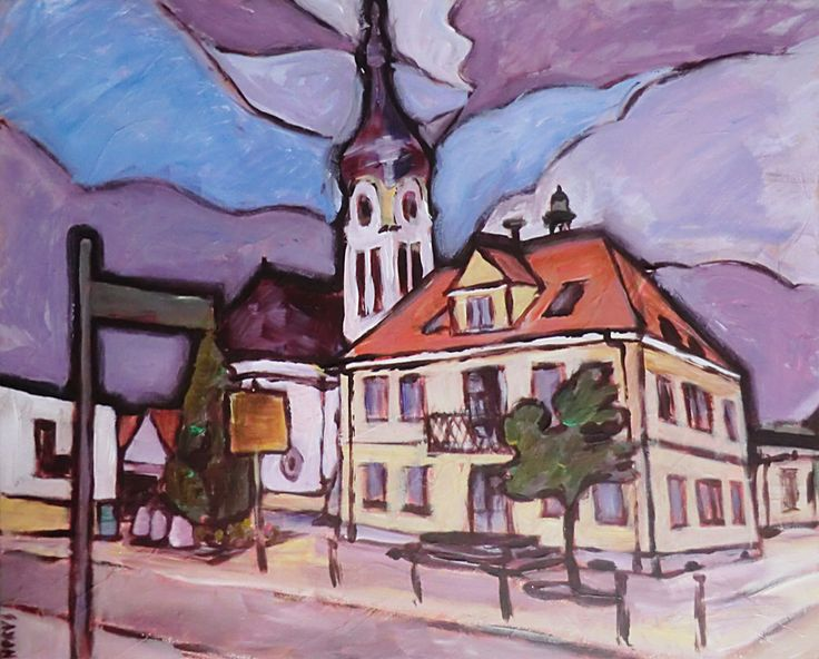 Aus der Reihe Nachbargemeinden. Teil 1: Neulussheim / Acryl auf Leinwand, Abm. 60 x 50 cm