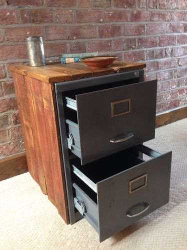 Vintage Industrial Chic Metal Filing Cabinet Encased in reclaimed Wood | eBay