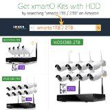 [AUTO-PAIR]xmartO WOS1388 8 Channel 960p HD Wireless Security Camera System with 8x 960p HD Outdoor Wireless IP Cameras (Built-in Router, Reliable Long Range WiFi, 1.3MP Camera, IP66, 80ft IR)