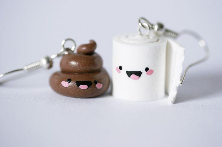 Orecchini in fimo - Happy Poo e Toilet Paper di HappyBee Lab su DaWanda.com