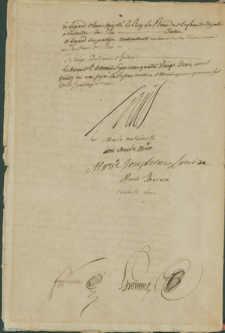 Marie Antoinette signature marriage