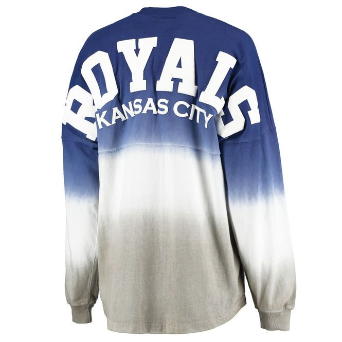 Women's Kansas City Royals Royal Oversized Long Sleeve Ombre Spirit Jersey T-Shirt