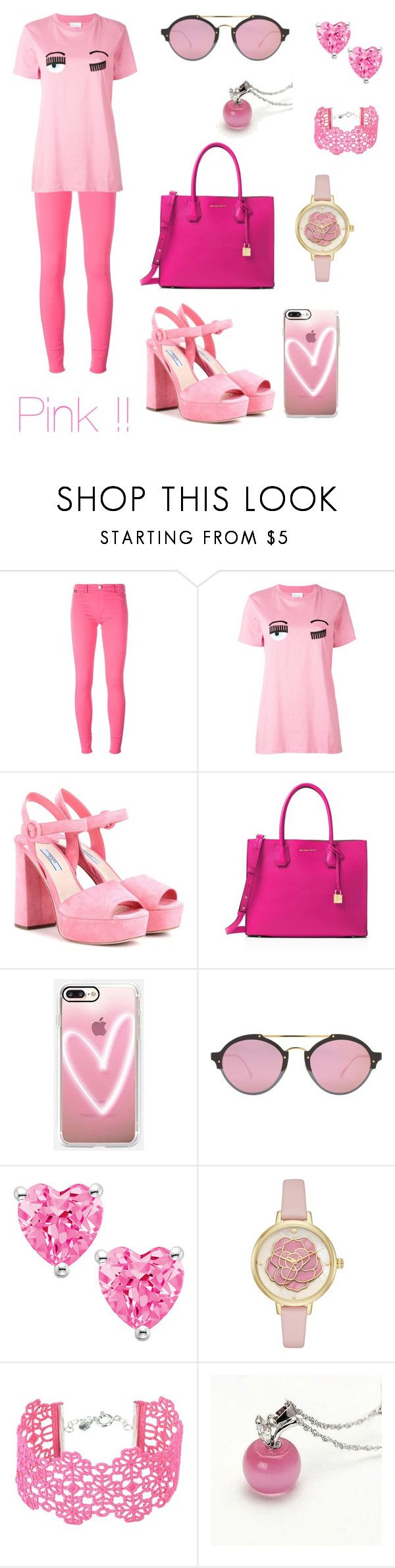 """On Wednesday we wear pink"" by amelie-martins ❤ liked on Polyvore featuring Love Moschino, Chiara Ferragni, Prada, MICHAEL Michael Kors, Casetify, Illesteva, Kate Spade and Cruciani"