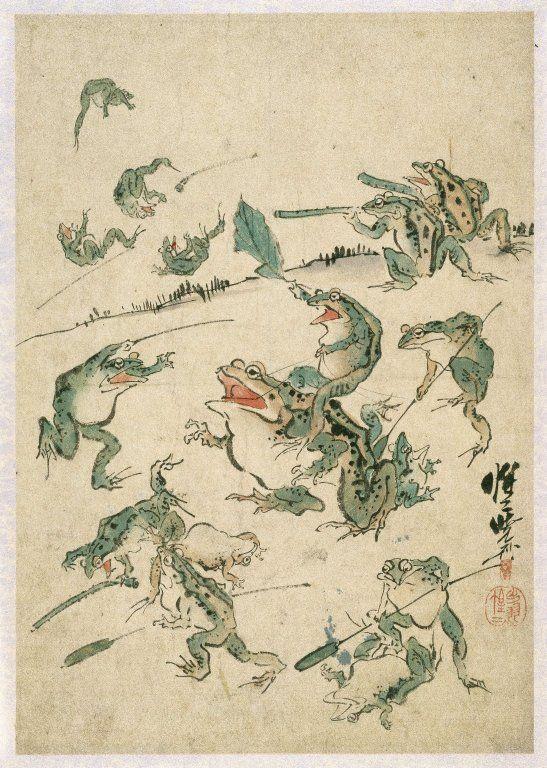 Frog's war (sketch) by Kawanabe Kyosai (1831-1889)