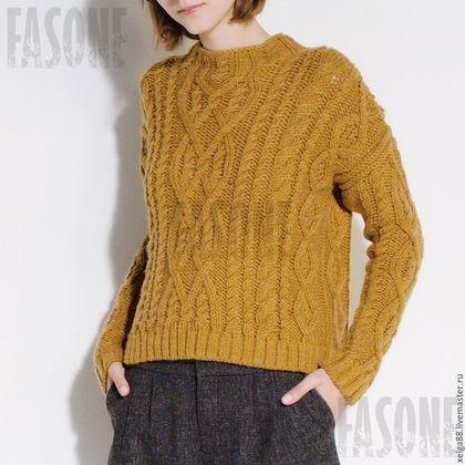 Свитер, свитер вязаный, свитер мягкий, свитер женский, свитер желтый, свитер с косами, свитер спицами, вязаный свитер, женский свитер, свитер теплый
