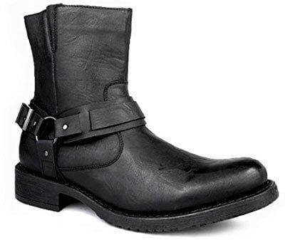 Bonafini Collection Men Classic Traditional Round Toe Motorcycle Boots