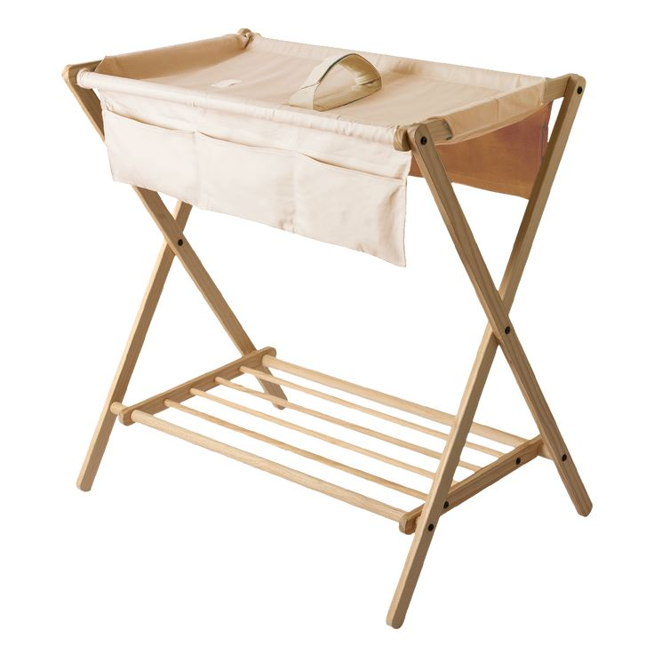 This Contemporary Change Table Consists Of A Solid Pine Frame Together With  A Flaxen Coloured Sling