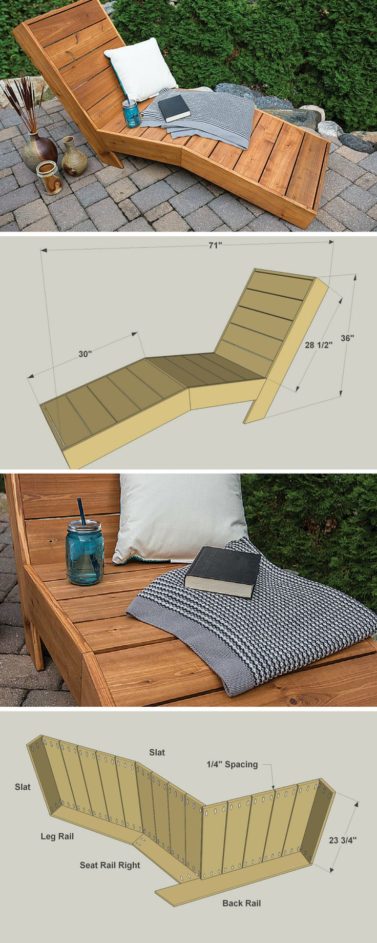 Kick back in comfort outside with this great-looking outdoor chaise lounge. It's built with a shape that cradles your body and keeps you from sliding down. The shape doesn't add much challenge to the build, though. Just cut a few pieces at an angle with your miter saw, and you're all set. FREE PLANS at buildsomething.com