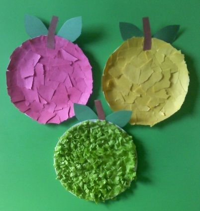 The paper plate apples worked awesome. I used little plates and it didn't overwhelm the kids, which is good for our first storytime back. You could give construction paper pieces/to tear, tissue paper and crepe paper (or birthday streamers, lol) for variety without it being overwhelming.