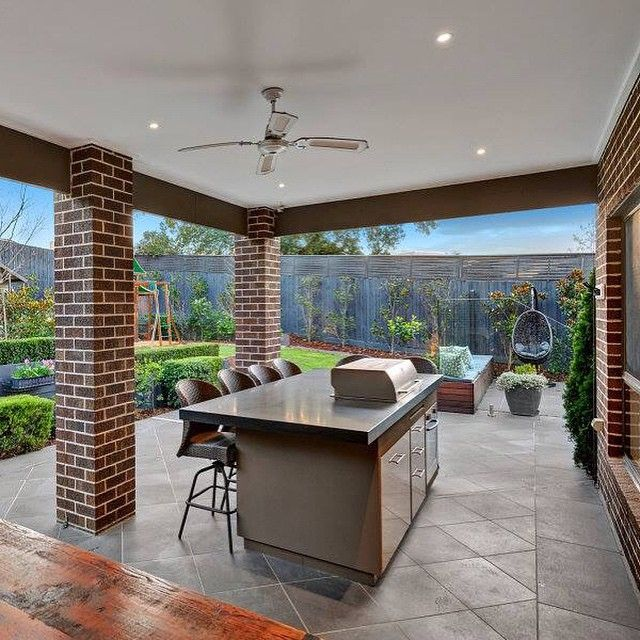 Outdoor kitchen and bbq area in house of the day balwyn for Outdoor kitchen australia