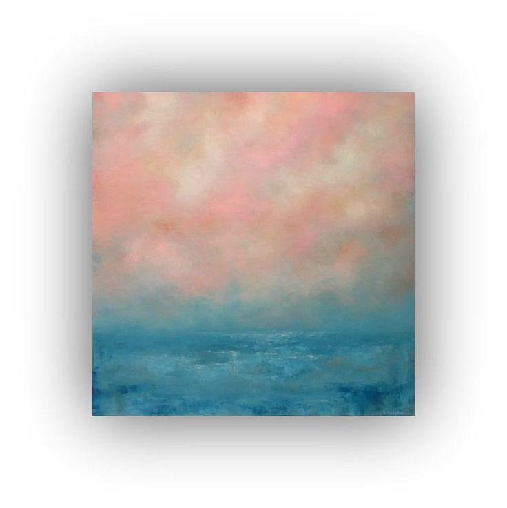 Pink and Blue Abstract Seascape- 24 x 24 Ocean Sky and Clouds Oil Painting- Original Palette Knife Art on Canvas by traceynicholas on Etsy
