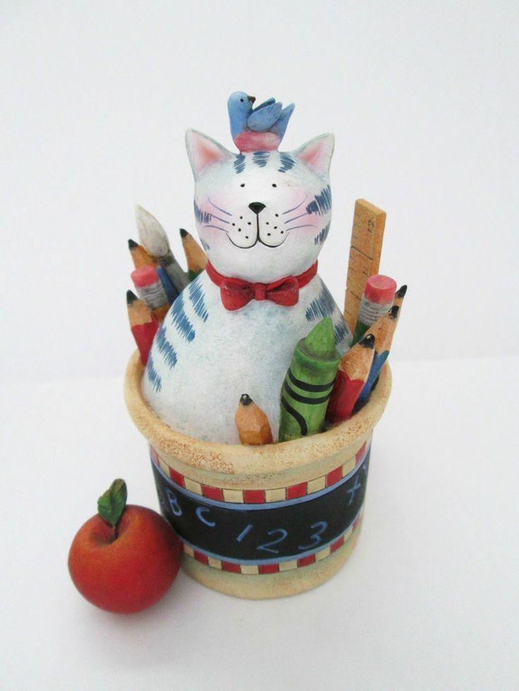 Lang & Wise Classy Cat Figurine School Teacher Theme First Ed Susan Winget 2001