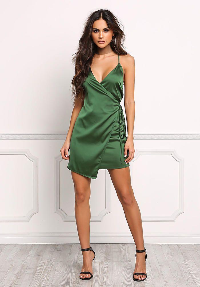 Emerald Green Satin Faux Wrap Dress